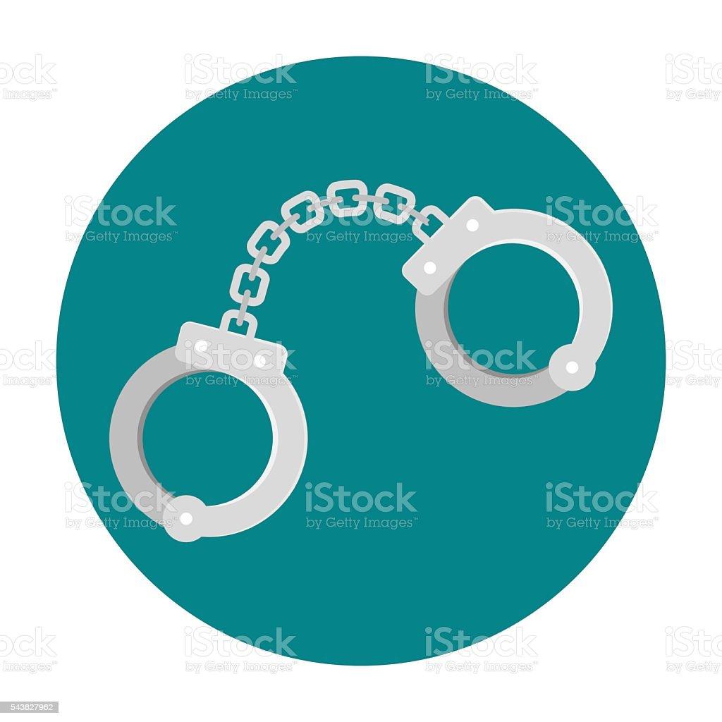 Handcuffs flat icon vector art illustration