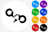 Handcuffs Icon on Flat Color Circle Buttons