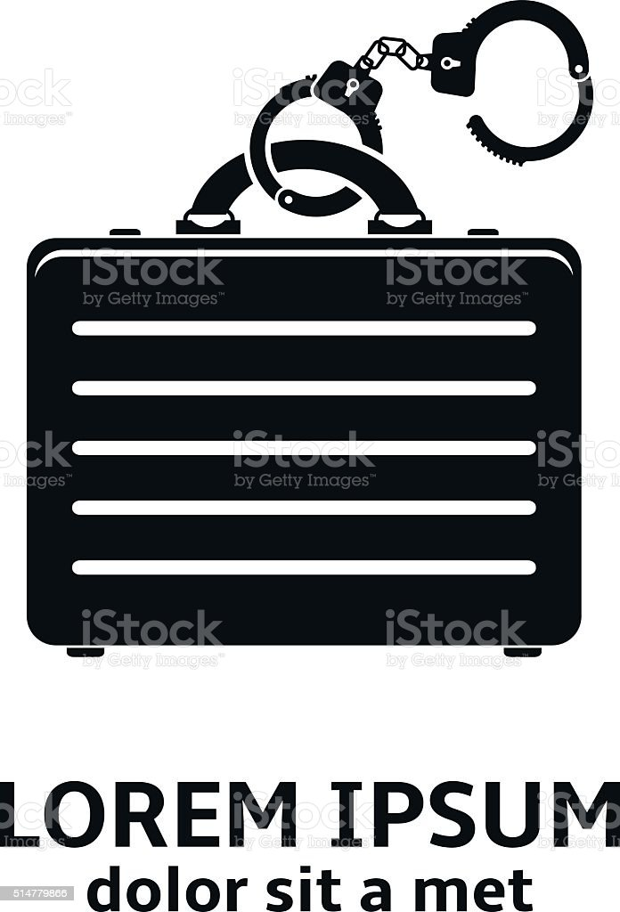 Handcuffs with briefcase icon vector art illustration