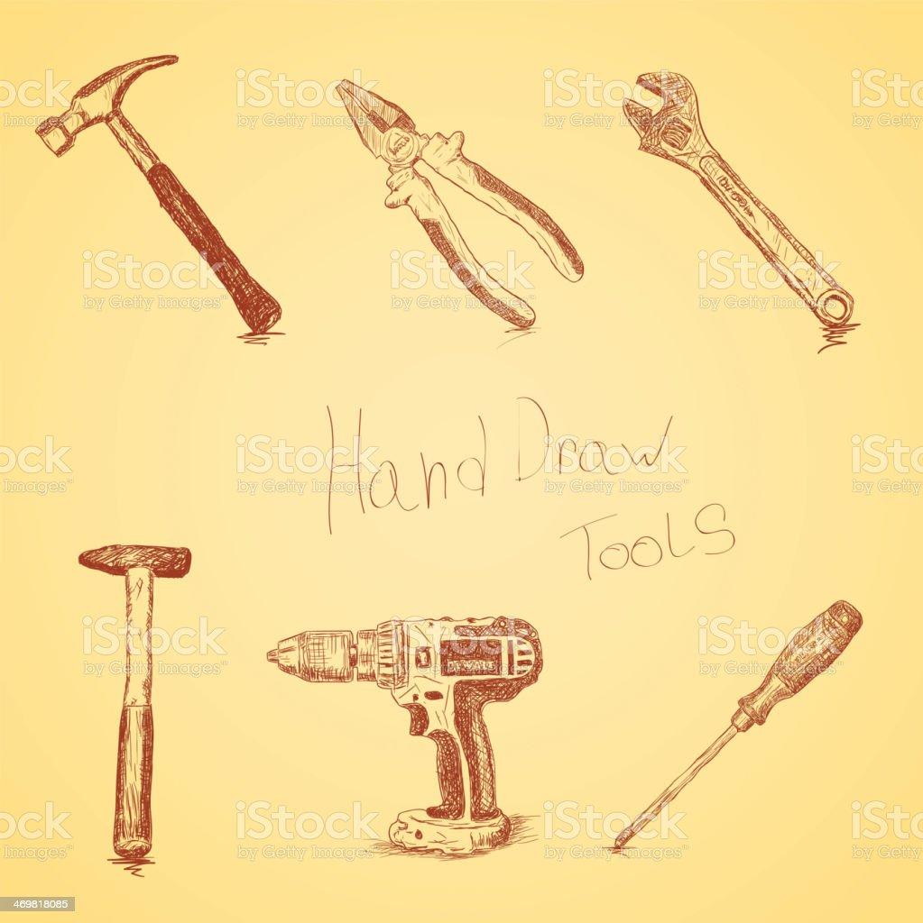 Hand-draw tools set vector art illustration