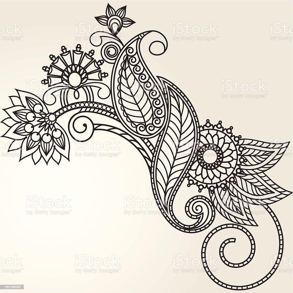 Henna Tattoo Vector: Handdrawn Abstract Henna Mehndi Flowers And Paisley Stock
