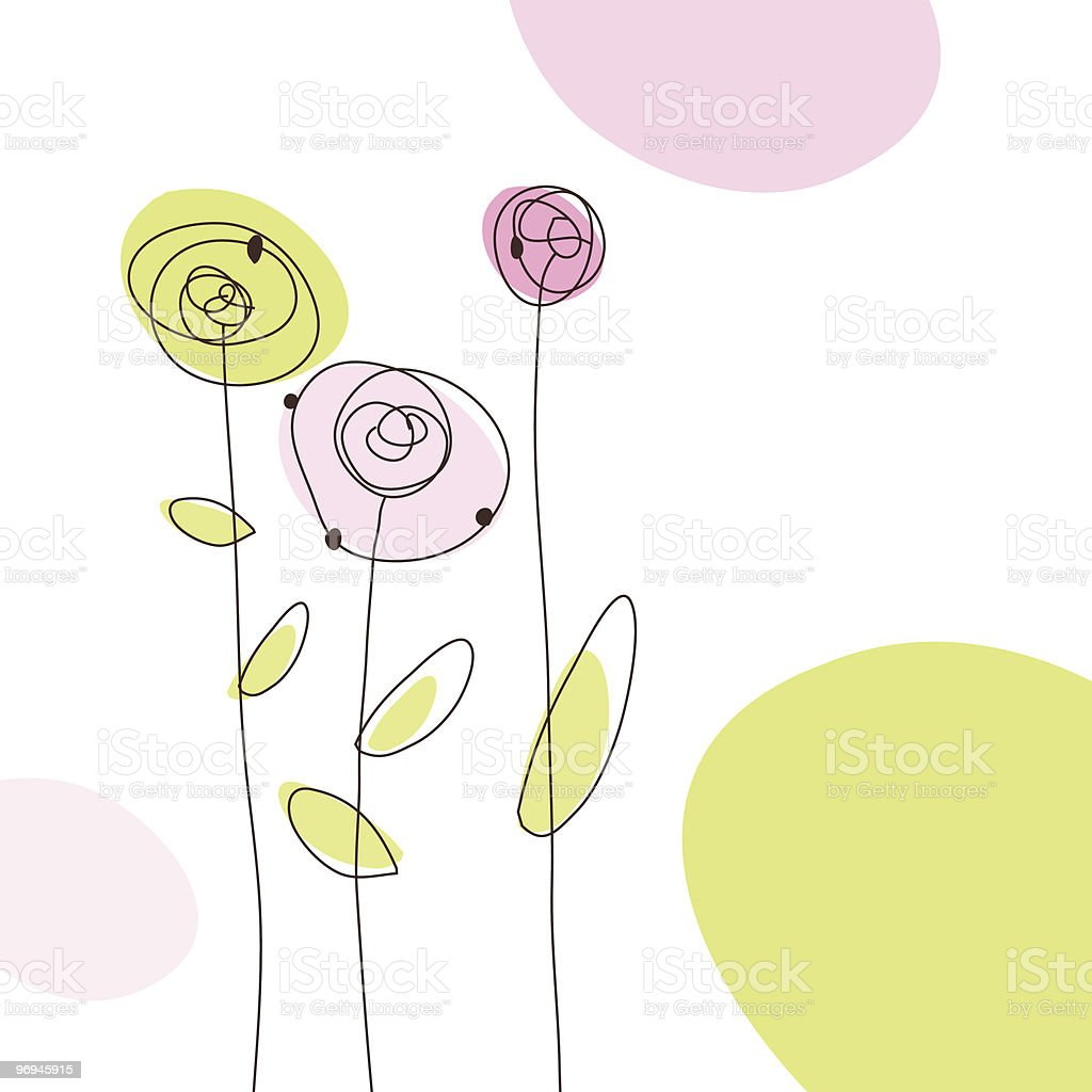 Hand-drawn, abstract roses in pink and green on white ground royalty-free stock vector art