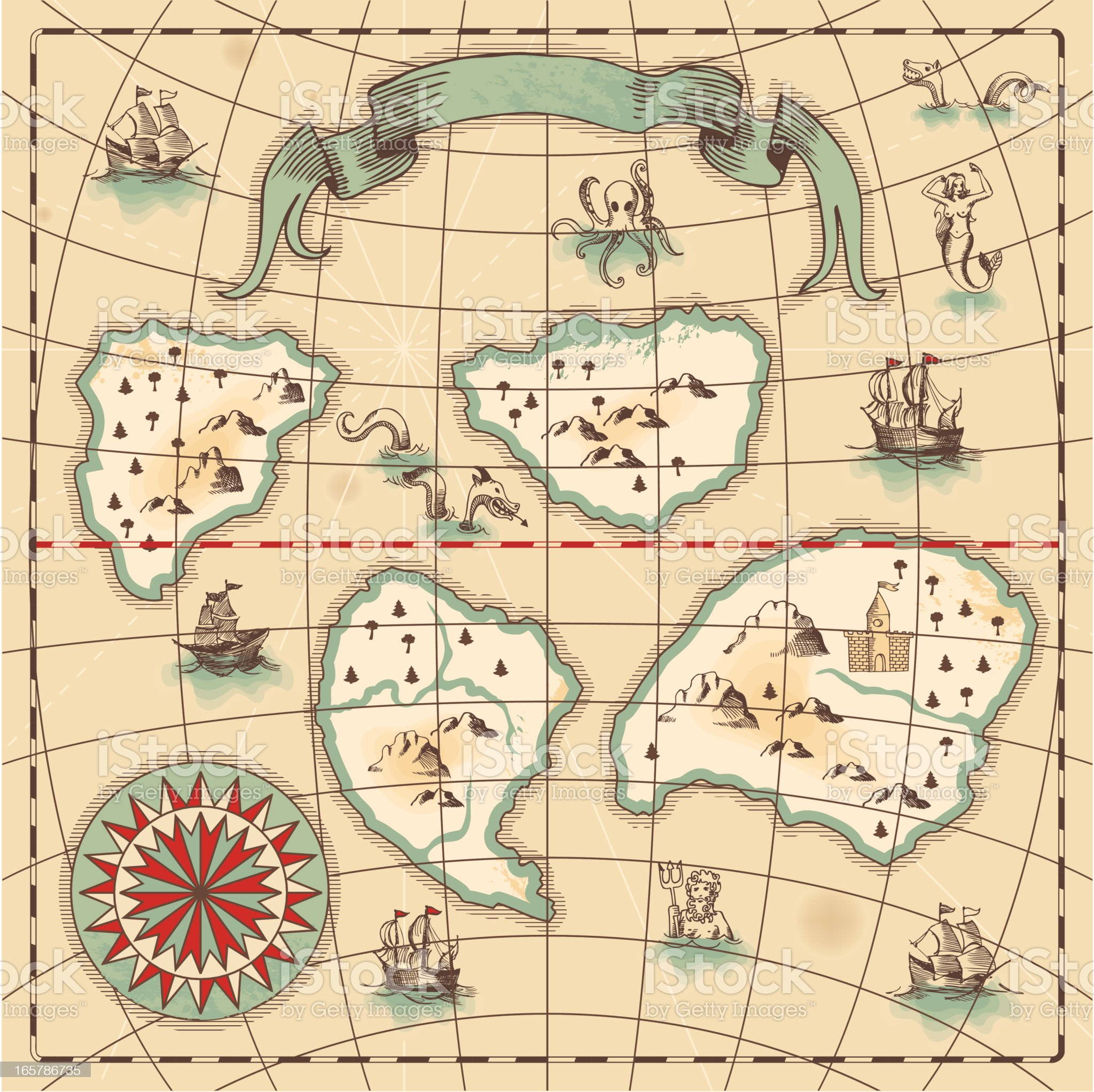 Hand-drawn antique ocean map. royalty-free stock vector art