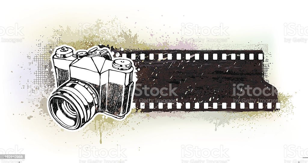 Hand-drawn banner with retro camera royalty-free stock vector art