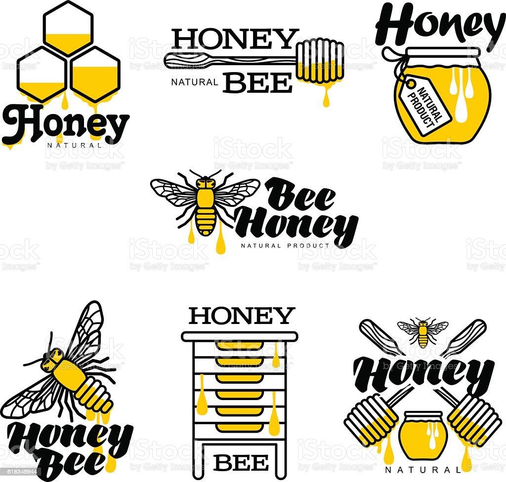 handdrawn bee hive honey jar and dipper logo set stock