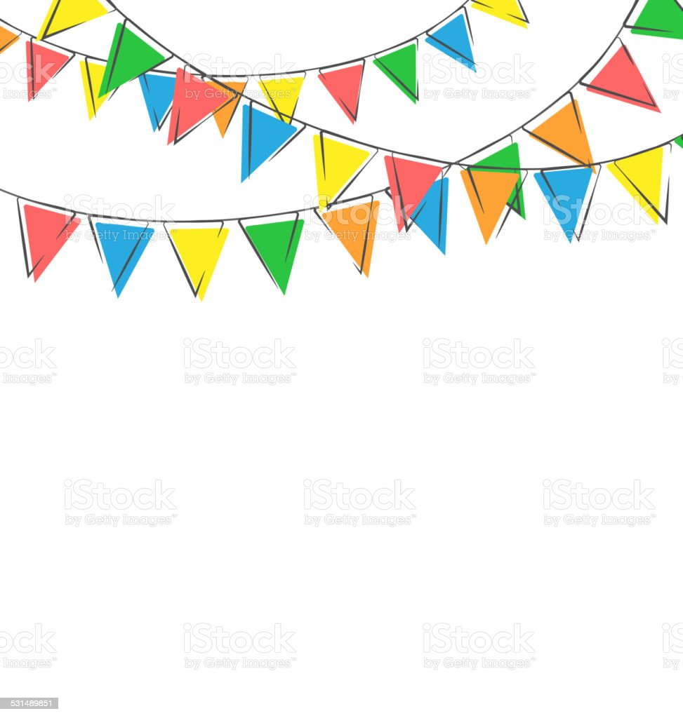 hand-drawn buntings isolated on white vector art illustration