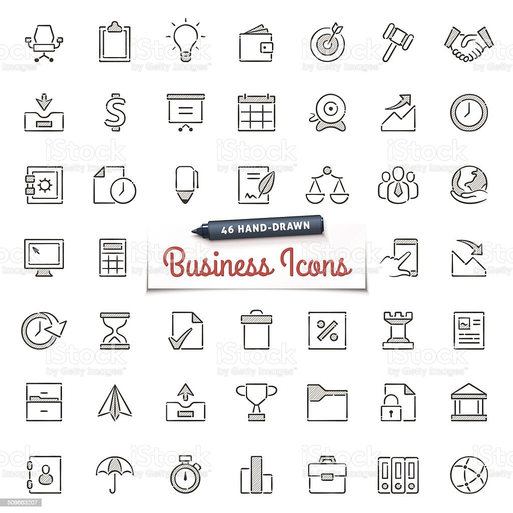 Hand-Drawn Business Icons vector art illustration