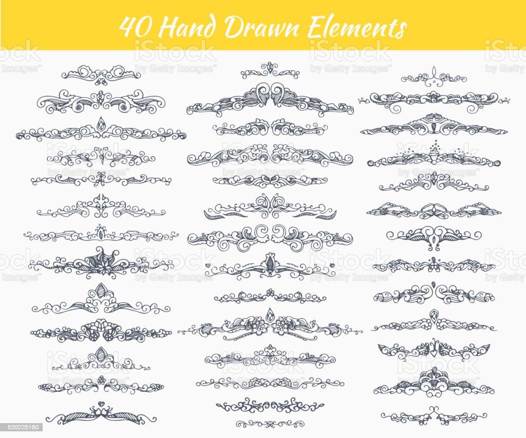Hand-drawn calligraphy dividers vector art illustration