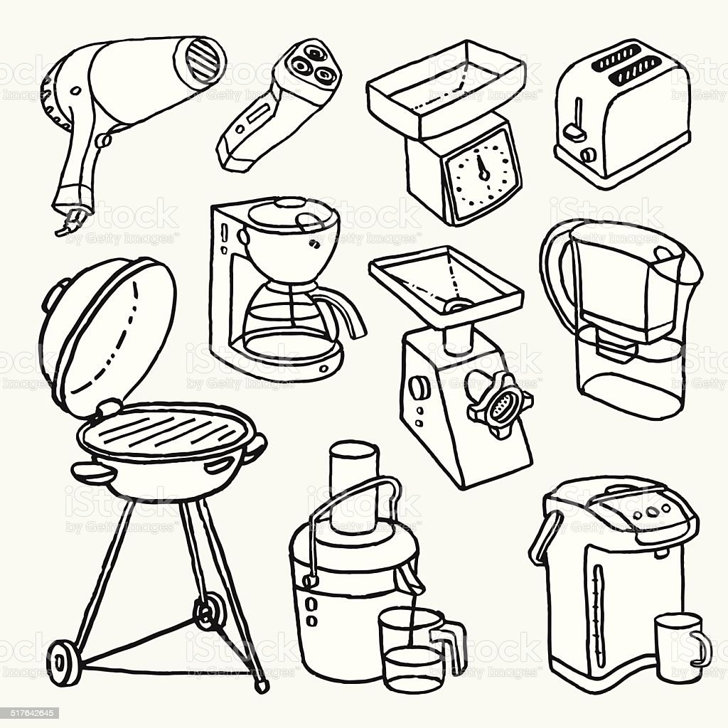 Cartoon kitchen appliances - Hand Drawn Cartoon Illustrations With Electric House Appliances Royalty Free Stock Vector Art