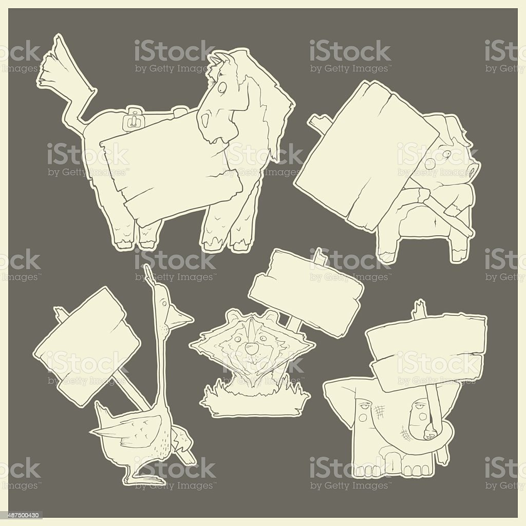 Hand-drawn cartoon vector collection of animals with posters vector art illustration
