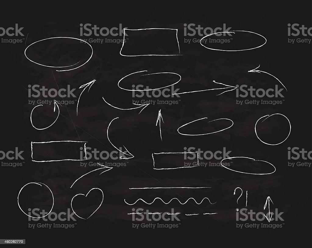Hand-drawn chalk scribble design elements vector art illustration