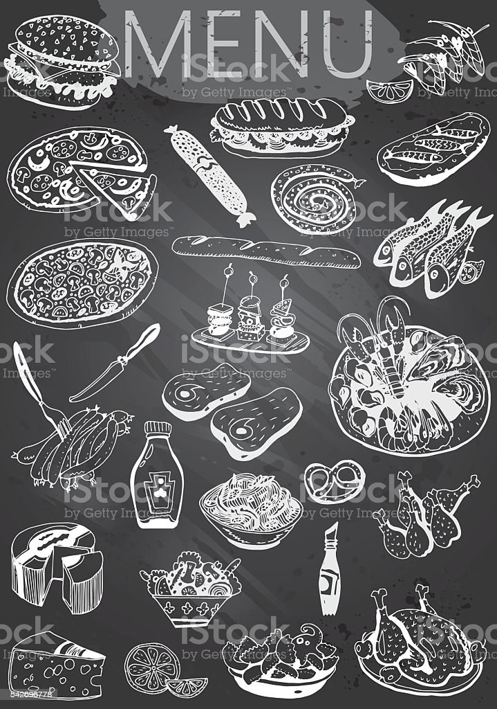 Hand-drawn chalkboard menu vector art illustration