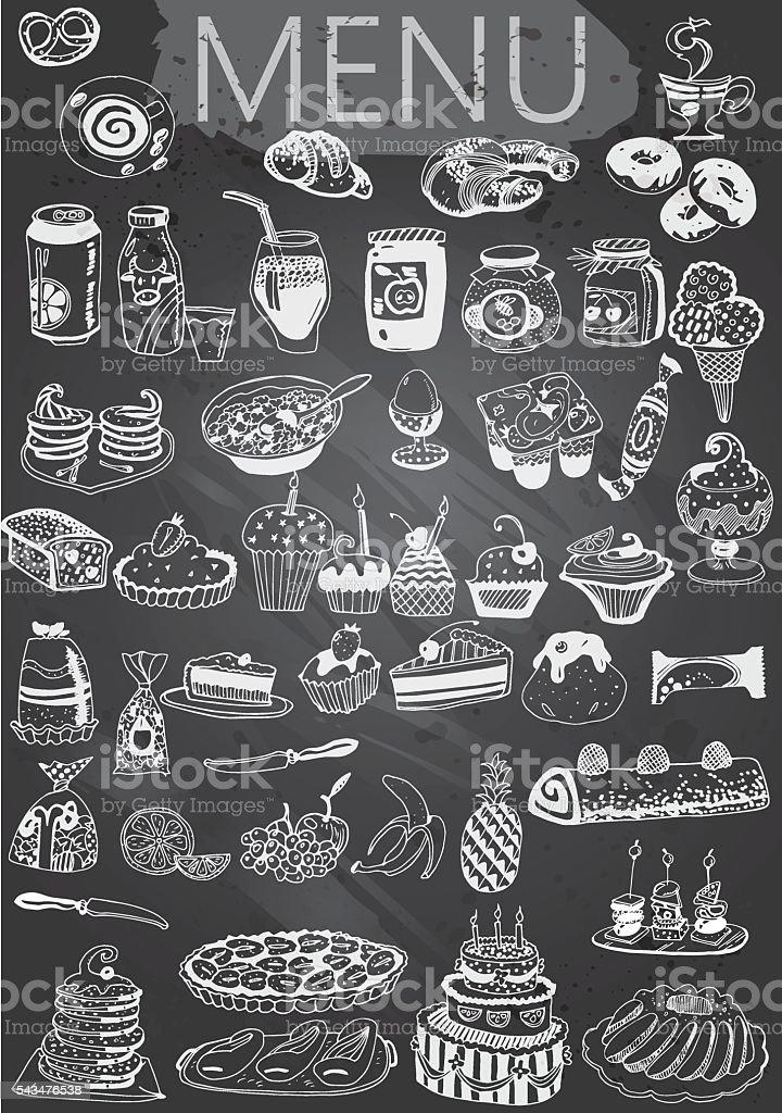 Hand-Drawn Chalkboard Menu with Desserts vector art illustration
