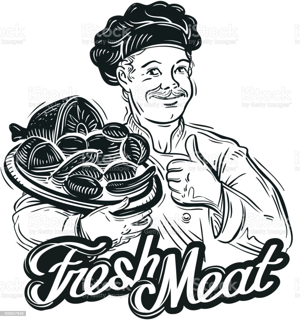 hand-drawn chef with a tray of fresh meat isolated vector art illustration