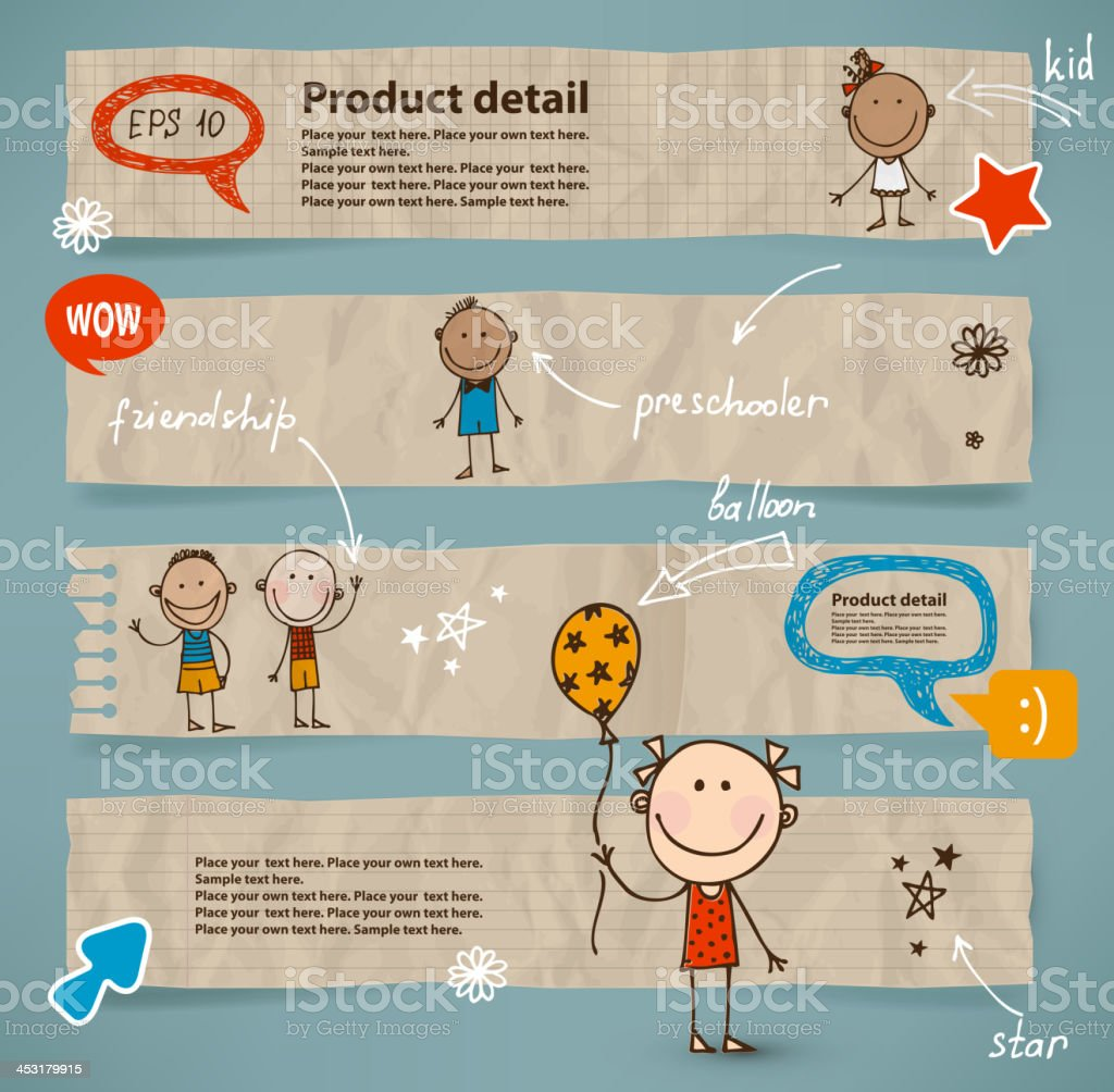Hand-drawn children and speech bubbles set vector art illustration