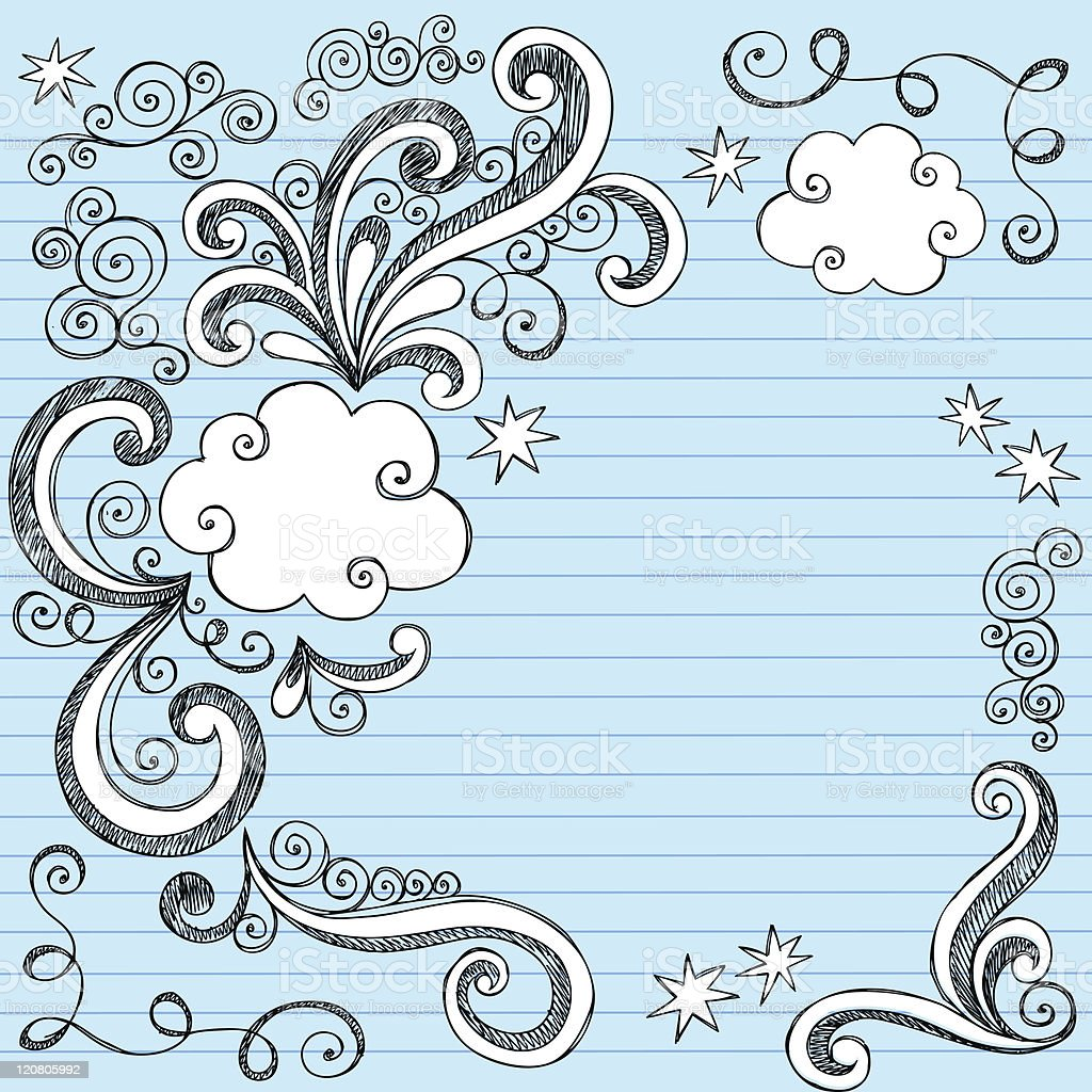 Hand-Drawn Clouds and Swirls Sketchy Doodles royalty-free stock vector art