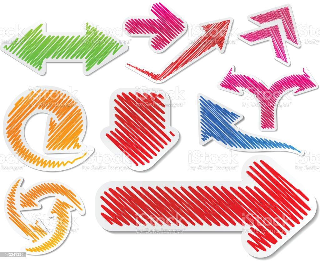 Hand-drawn color arrows set. royalty-free stock vector art