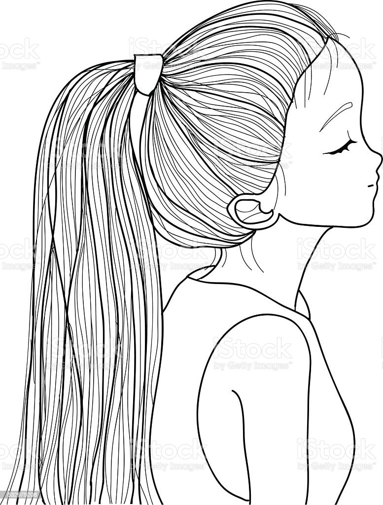 Hand-drawn cute girl with ponytail vector art illustration