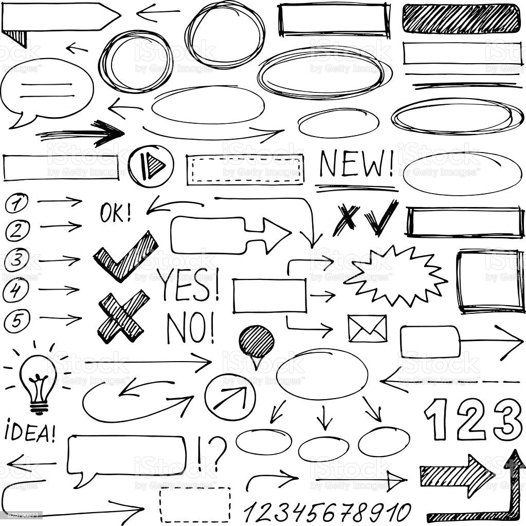 Hand-drawn design elements vector art illustration