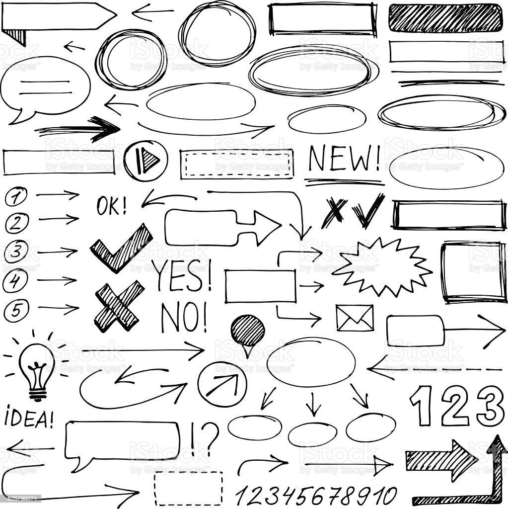 Hand-drawn design elements vector art illustration