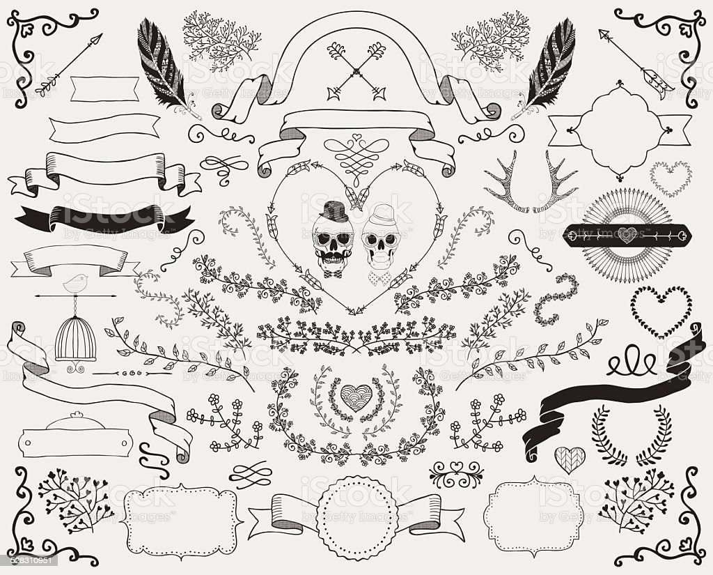 Hand-Drawn Doodle Design Elements vector art illustration