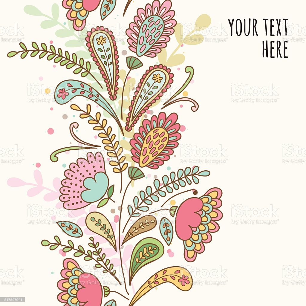 Hand-drawn doodle floral pattern, abstract leaves and flowers vector art illustration