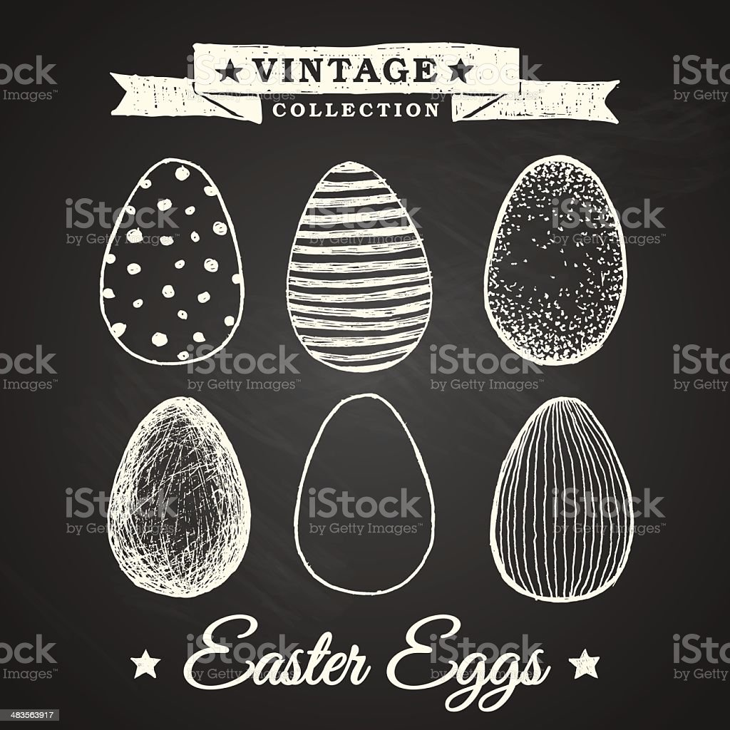 Hand-drawn easter eggs vector art illustration