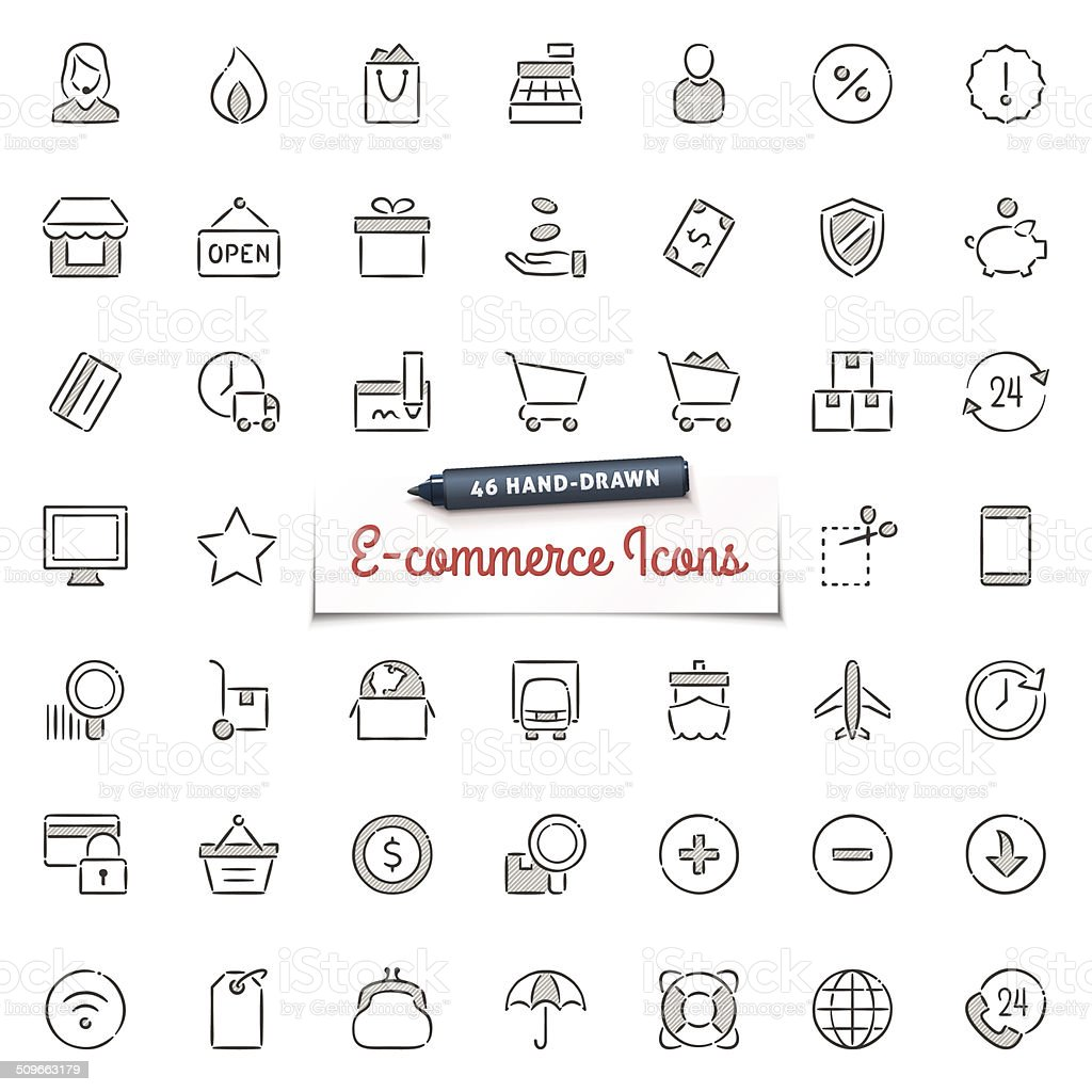 Hand-Drawn E-commerce Icons vector art illustration