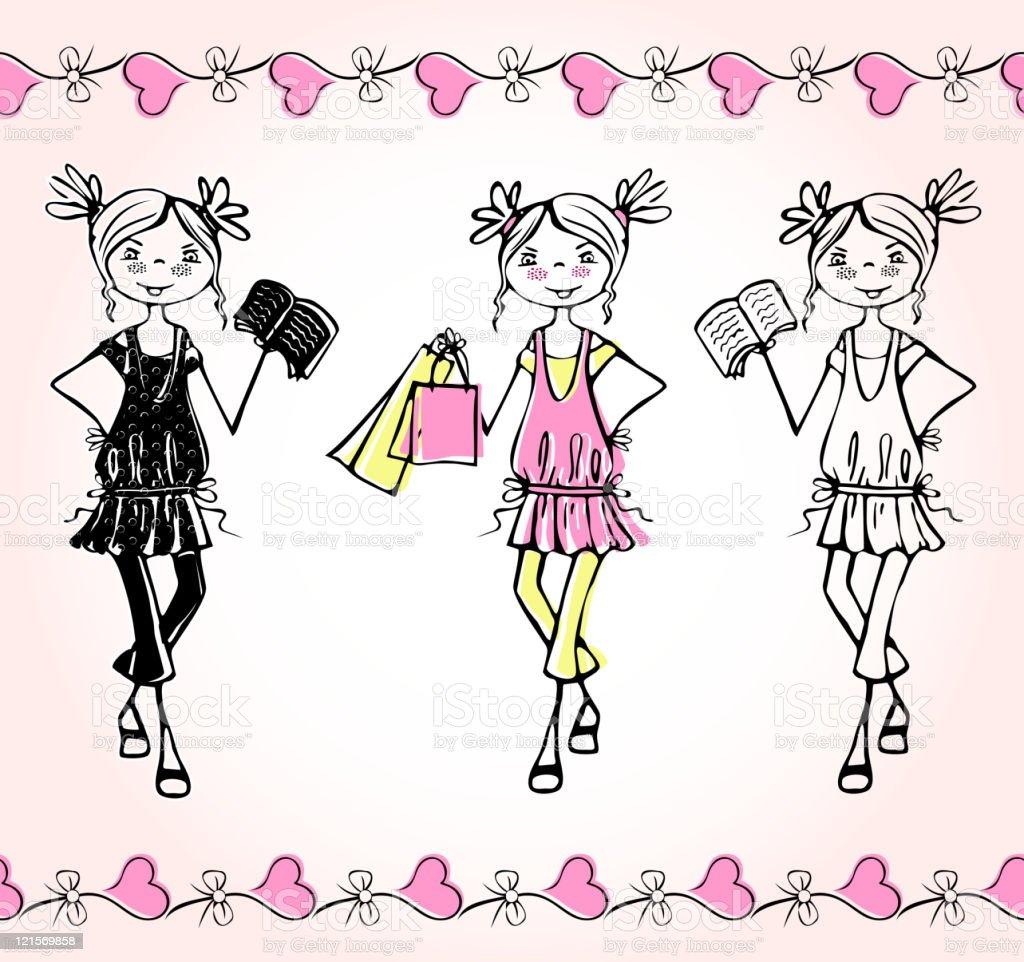 Hand-drawn fashion smile girls. Set three teens royalty-free stock vector art