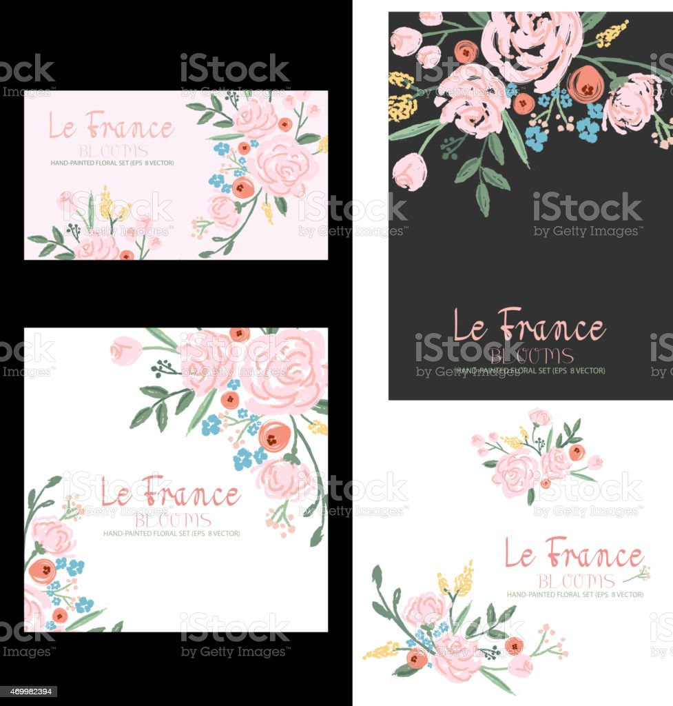 Hand-drawn Floral Set vector art illustration