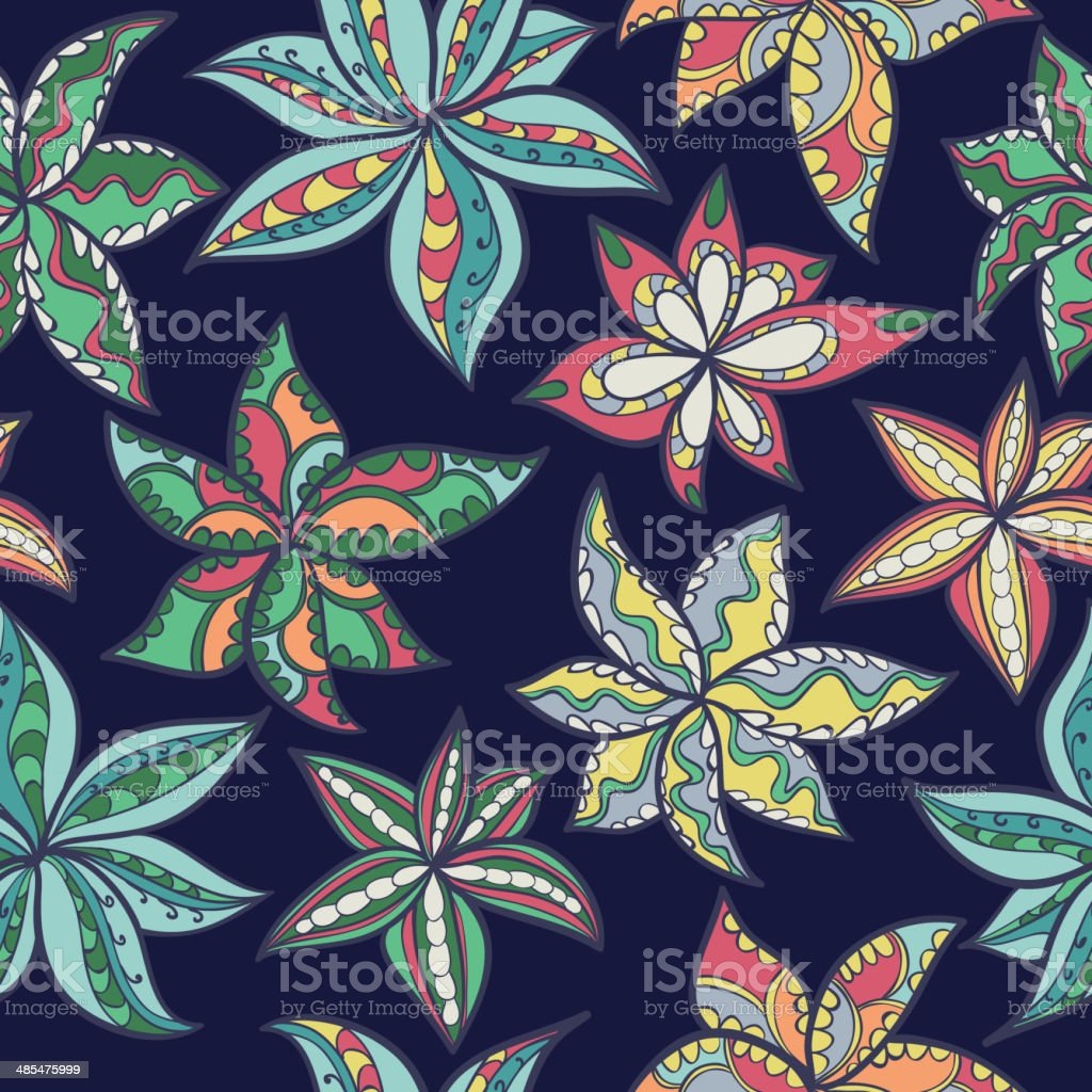 hand-drawn floral texture, ethnic flowers. vector art illustration