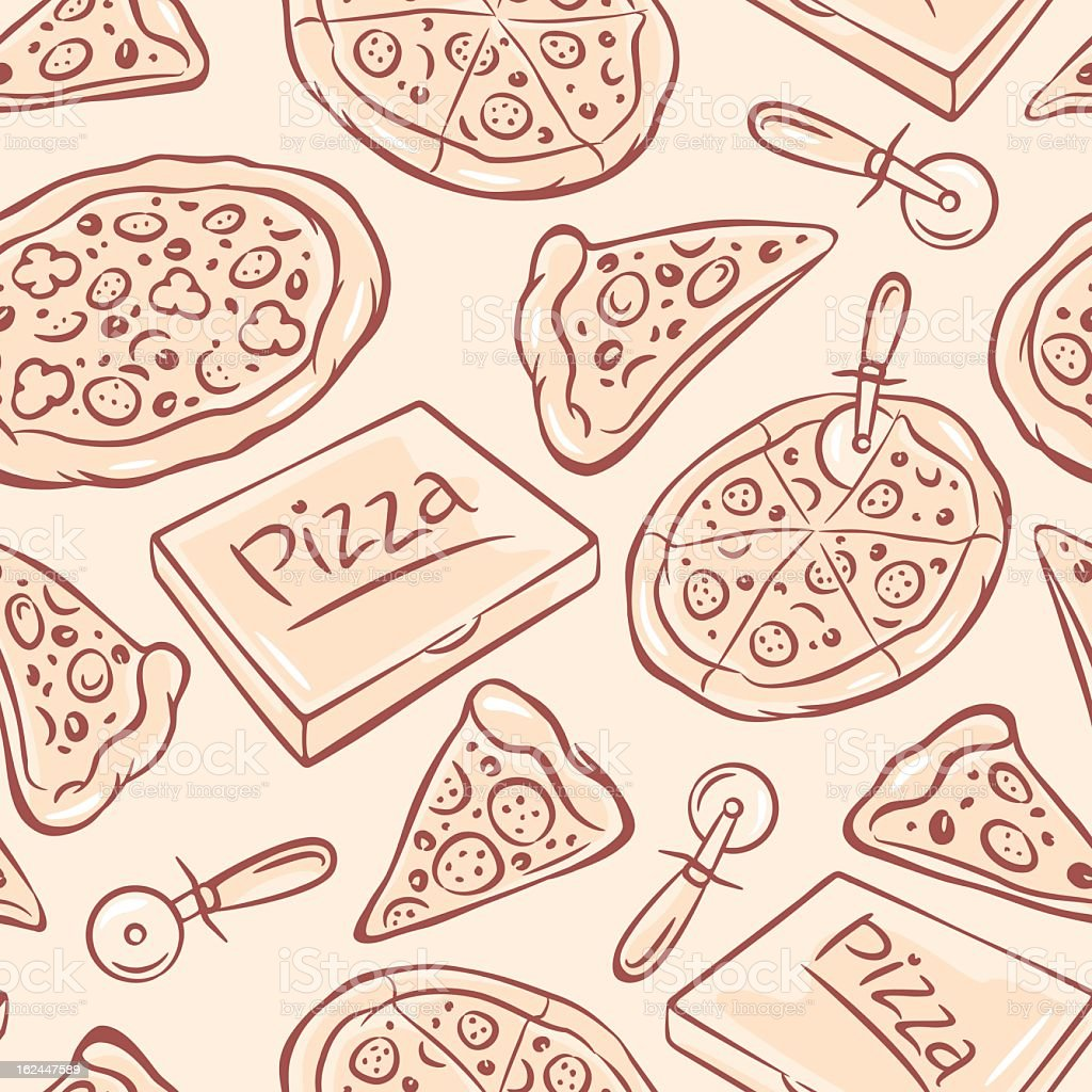 Hand-drawn graphic illustration of pizza elements vector art illustration