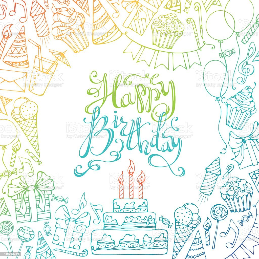 Hand-drawn Happy Birthday square background. vector art illustration