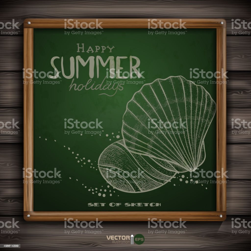 Hand-drawn happy summer with shells vector image vector art illustration