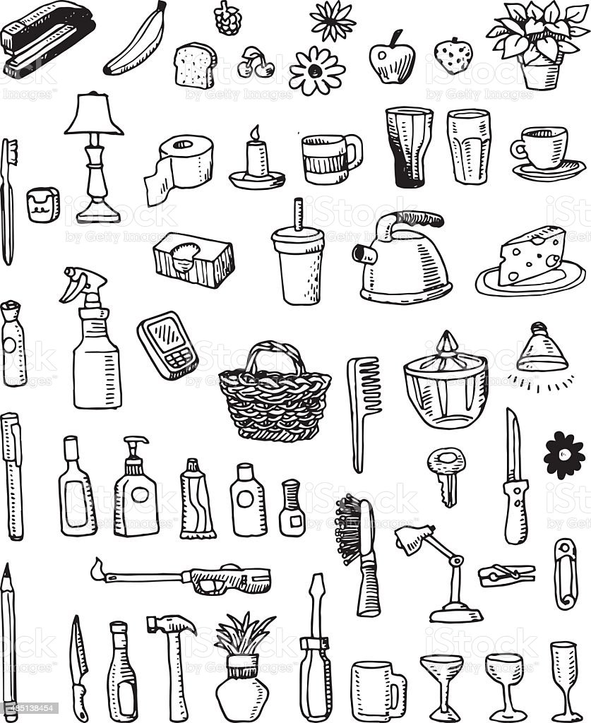 Hand-drawn Household Item Doodles vector art illustration