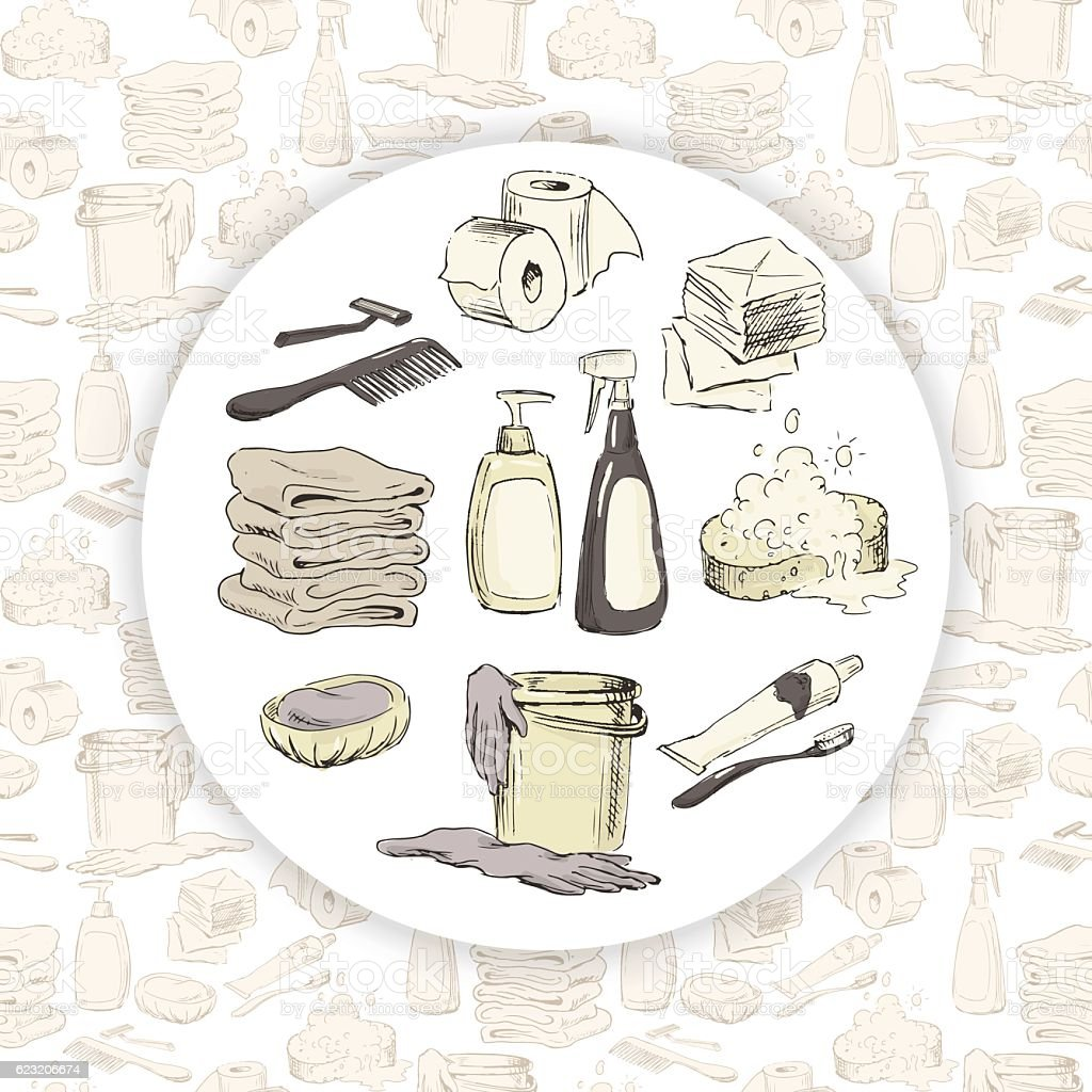 Hand-drawn hygiene elements on seamless pattern vector art illustration