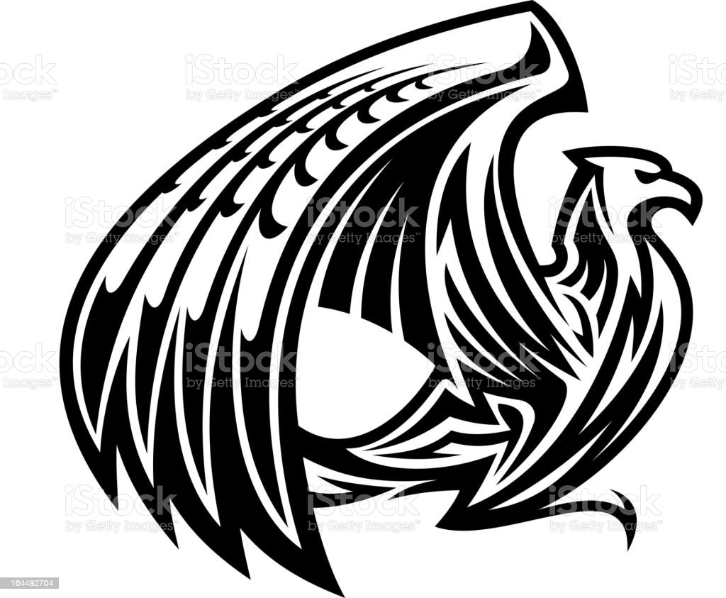 Hand-drawn illustration of a griffin over a white background vector art illustration