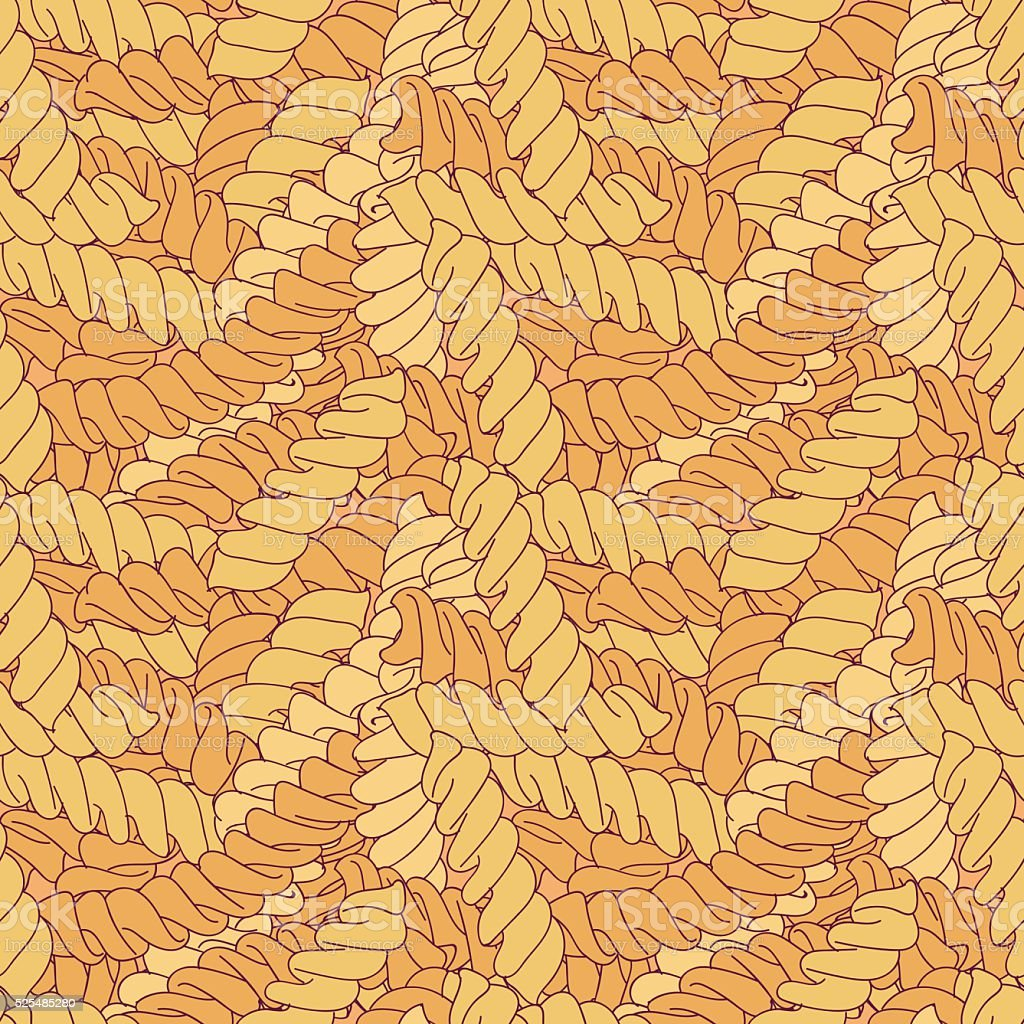 Hand-drawn italian pasta fusilli background vector art illustration