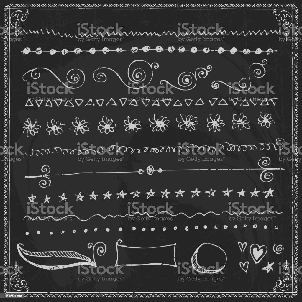 Hand-drawn line border set royalty-free stock vector art