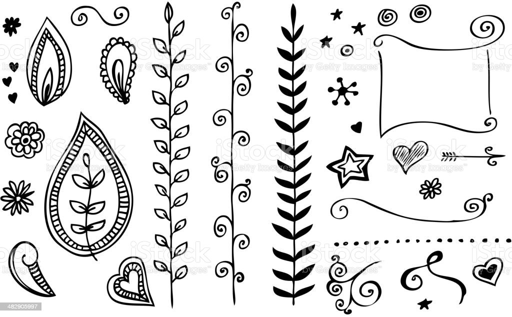 Hand-drawn line border set royalty-free stock vector art