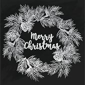 hand-drawn Merry Christmas card on chalkboard