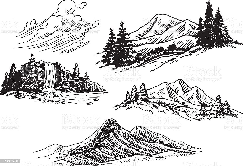 Hand-drawn Mountain Illustrations vector art illustration
