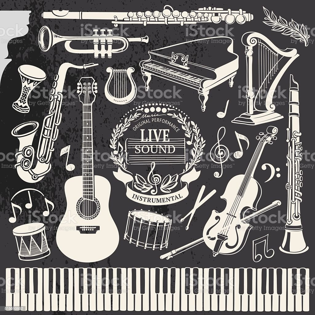 Hand-drawn Music Instruments vector art illustration