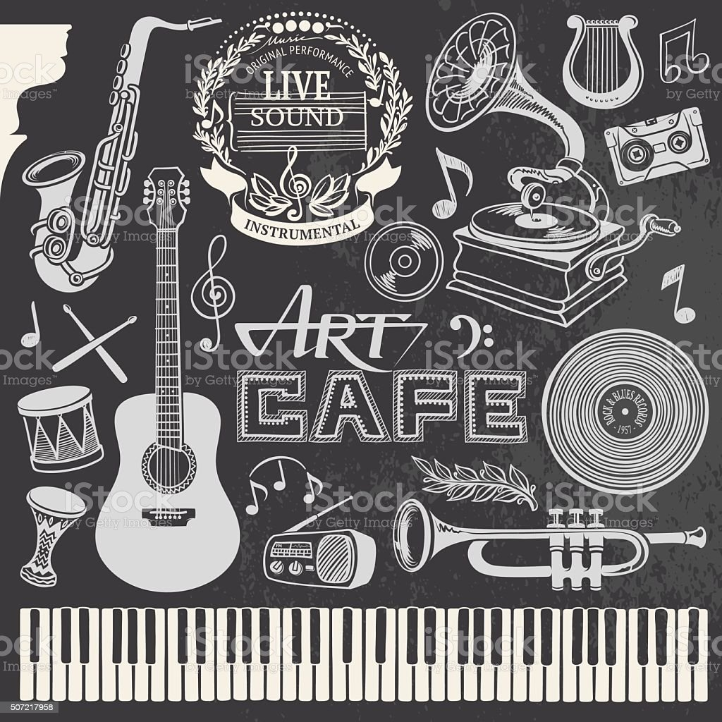 Hand-drawn Music Set vector art illustration