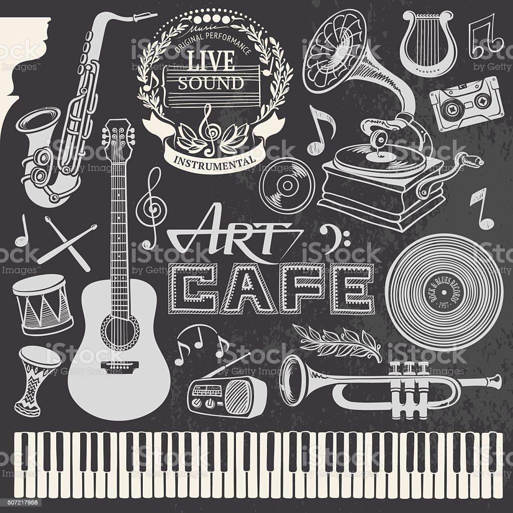 Hand-drawn Music Set vector art illustration