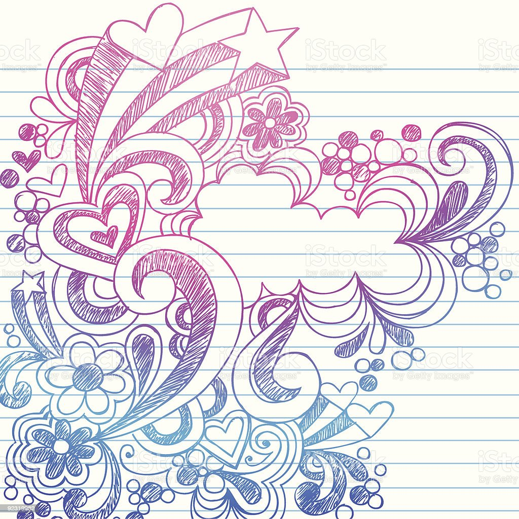 Handdrawn notebook doodles on lined paper stock vector art for Cute designs for paper