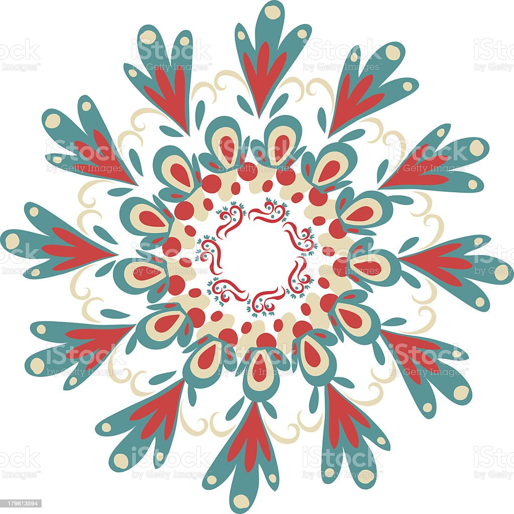 Hand-drawn ornamental round lace frame royalty-free stock vector art