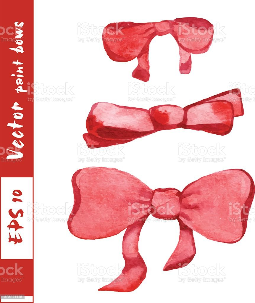 Hand-drawn painted red bows vector art illustration