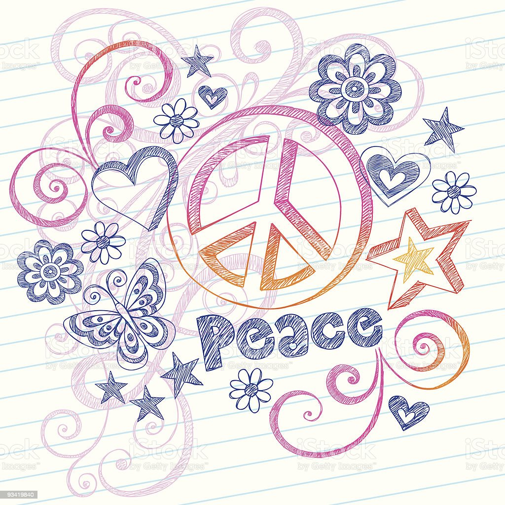 Hand-Drawn Peace Sign Sketchy Notebook Doodles royalty-free stock vector art