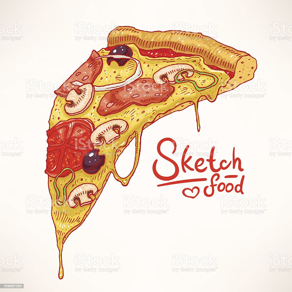 hand-drawn pizza - 2 vector art illustration